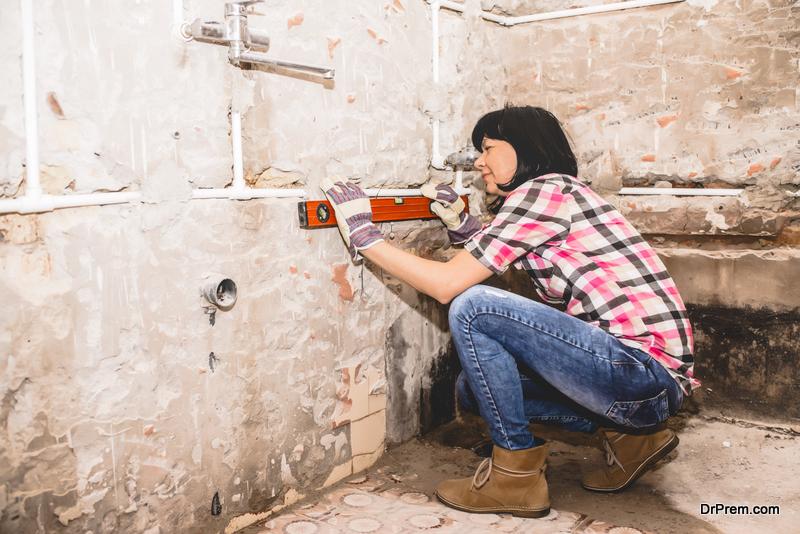 woman Revamping bathroom