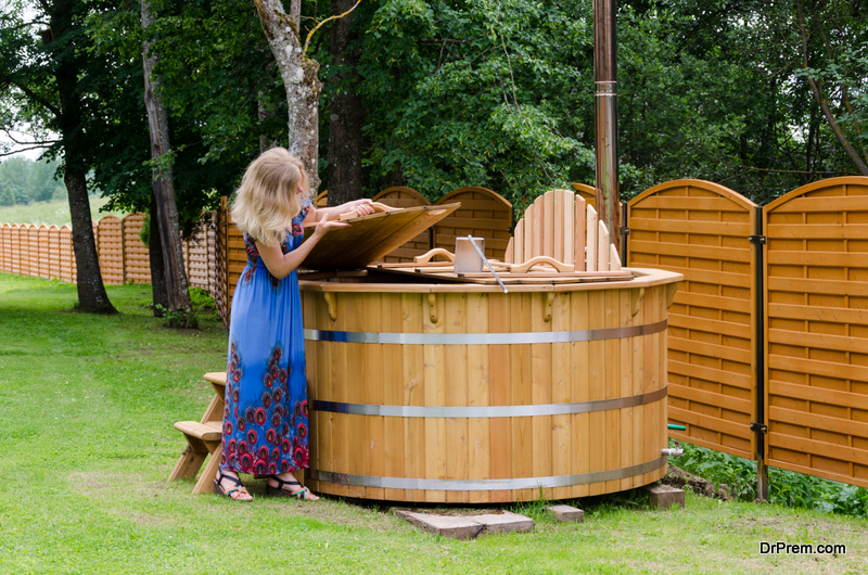 Setting Up a Wooden Hot Tub in Garden