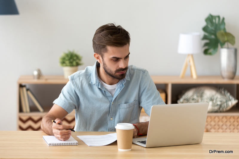 man going through format of the test
