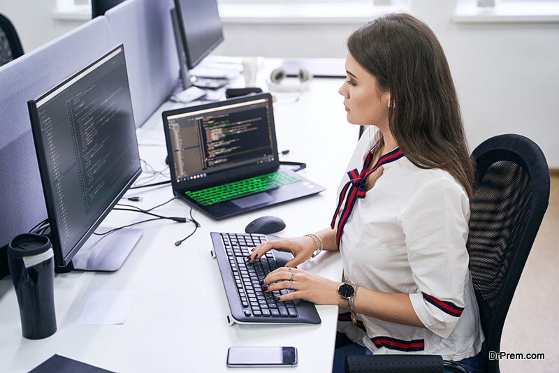 woman working on designing the page
