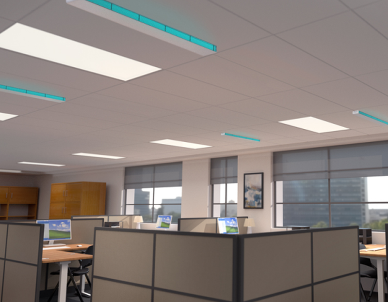 Safeology-Upper-Room-UVC-Linear-Recessed-Fixture-in-Office